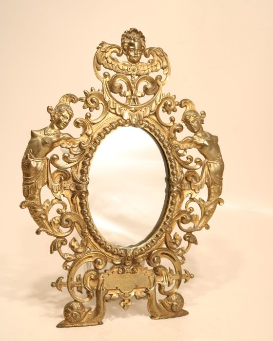 Gold-colored French wall mirror - cherub, snails, rocailles, cornucopia and caryatids - Brass