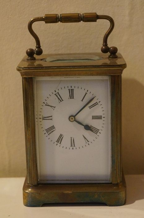 French brass cased bevelled glass carriage clock - Brass, Glass - 1900's