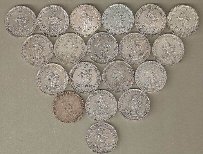 South Africa - Lot Shillings 1923/1960 (19 pieces)  - Silver