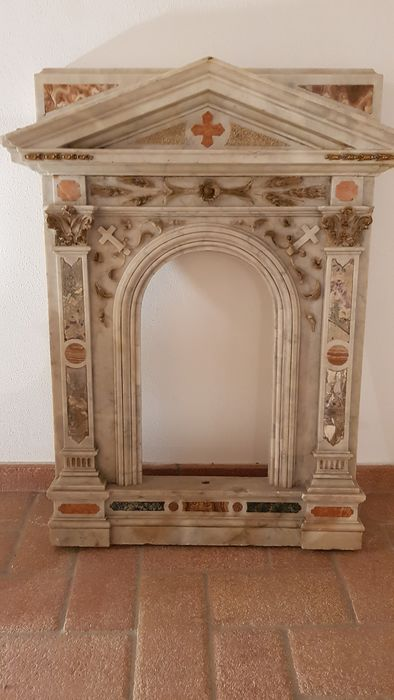 Tabernacle front - polychrome marbles - Early 19th century
