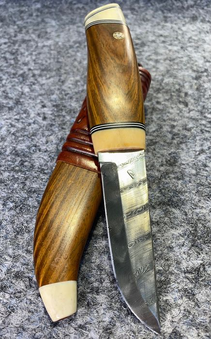 Zweden - Custom Made Swedish Hunting Knife  - Damascus Blade - First Half Of 20th Century - Hunting - Mes