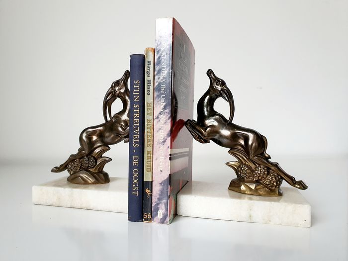 bookends (2) - brass - marble
