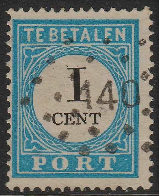 Países Bajos 1881 - Postage due stamp with point cancellation 140 - NVPH P3A type III
