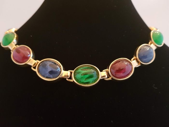 Christian Dior exquisite colorful glass stone vintage choker - necklace