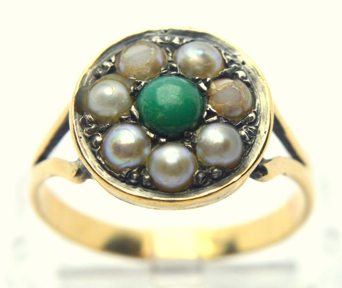 18 kt. Yellow gold - Ring - 0.25 ct Agate - Pearl