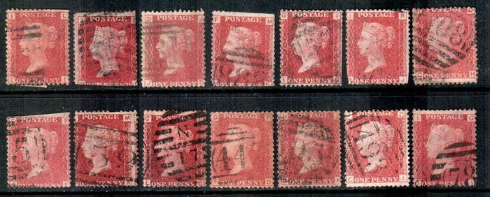 Great Britain 1858/1879 - 1d red - Stanley Gibbons SG43/44 plates selection