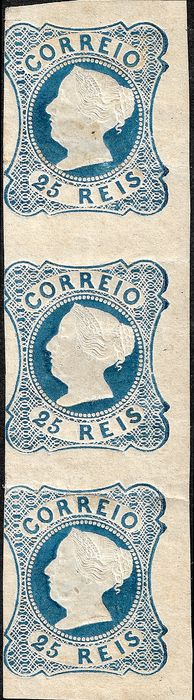 Portugal 1853 - Dona Maria 25 reis blue, strip of 3 - Mundifil 2