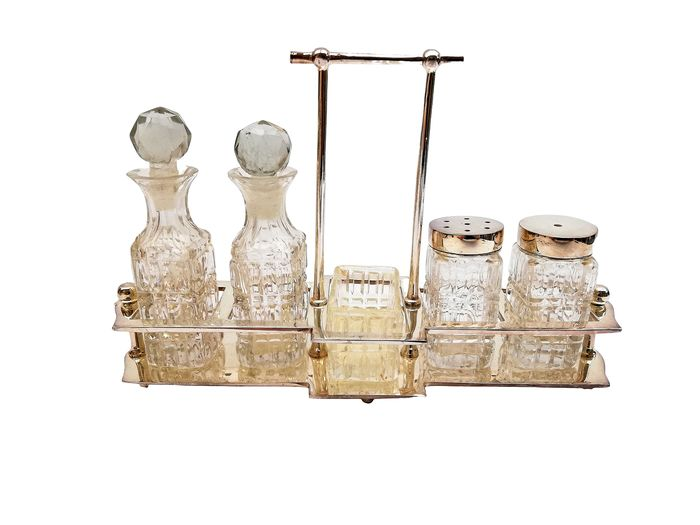 condiment set - Crystal, Silverplate