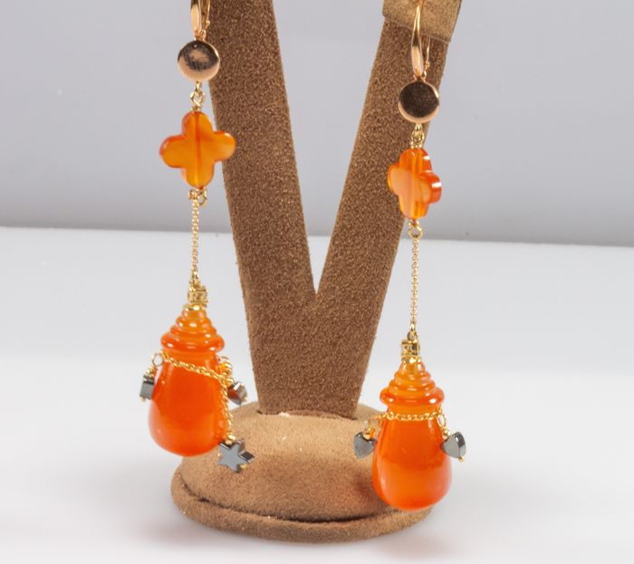 18 carats Or rose - Boucles d'oreilles Cornaline orange - Diamants, Hématite noire