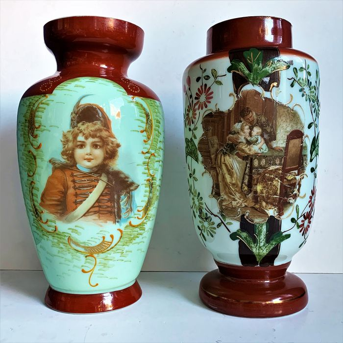 Pair of translucent opaline vases with handpainted scene of baby and child - Glass