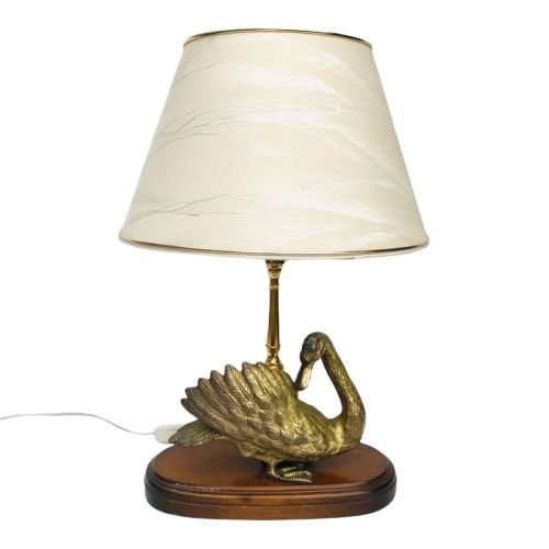 Atmospheric table lamp with a representation of a duck - Brass, Textiles, Wood