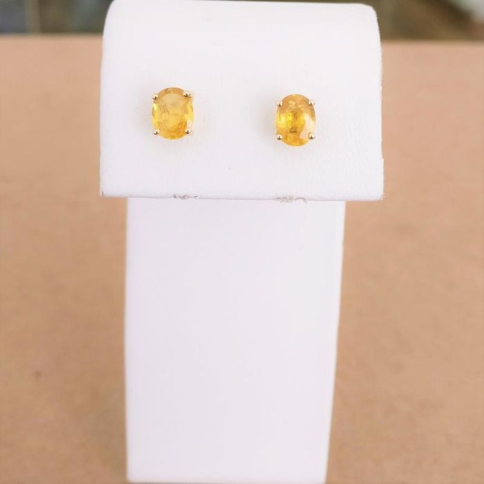 18 kt. Yellow gold - Earrings - 1.88 ct Sapphire