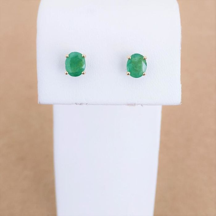 18 kt. Yellow gold - Earrings - 1.13 ct Emerald