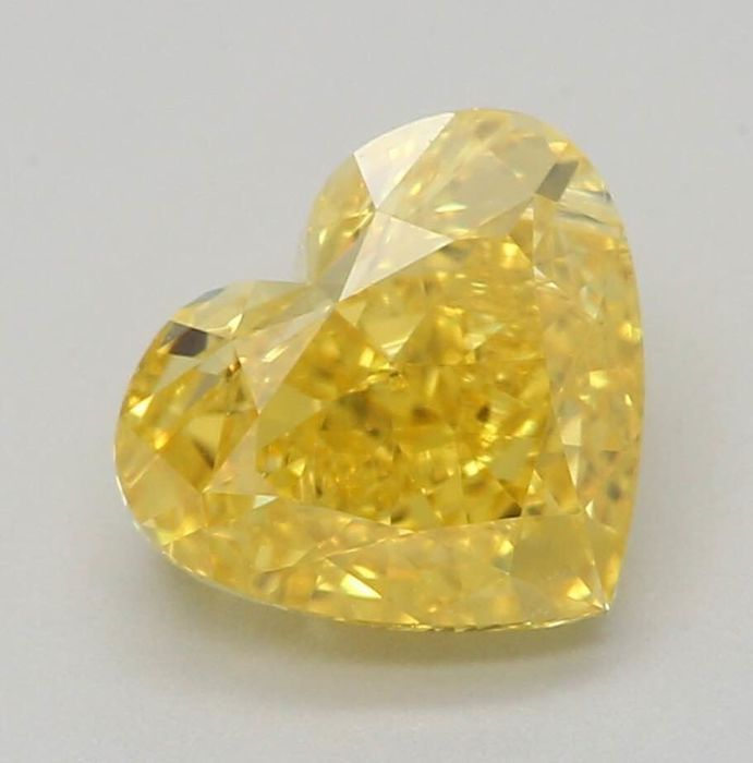 1 pcs Diamante - 1.01 ct - Coração - fancy vivid yellow - VS1