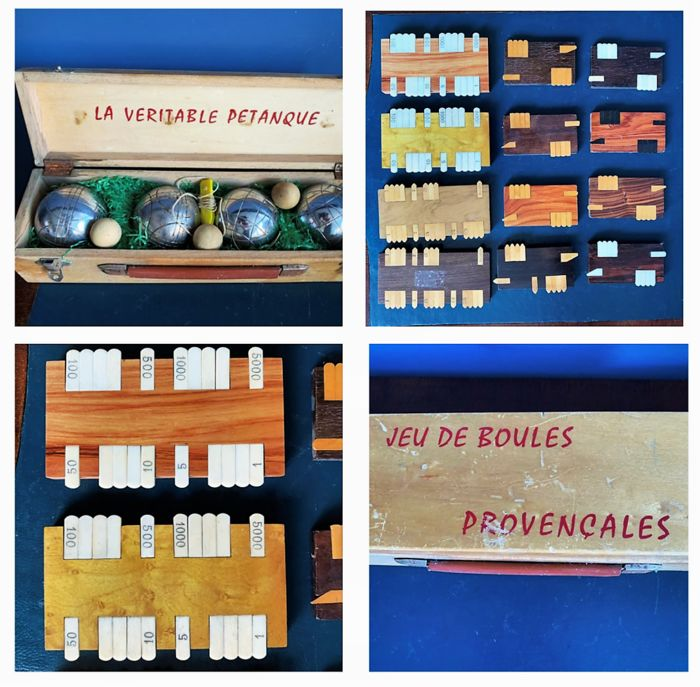 Two French games: Jeu de Boules and Bezique Puntentellers - Bone, Iron (cast/wrought), Wood