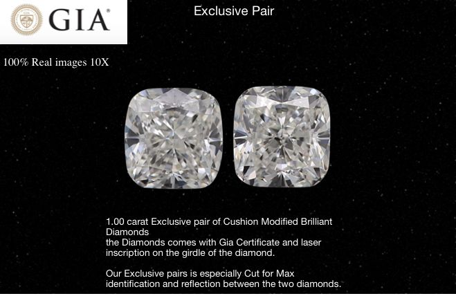 2 pcs Diamants - 1.00 ct - Coussin - I - VS1