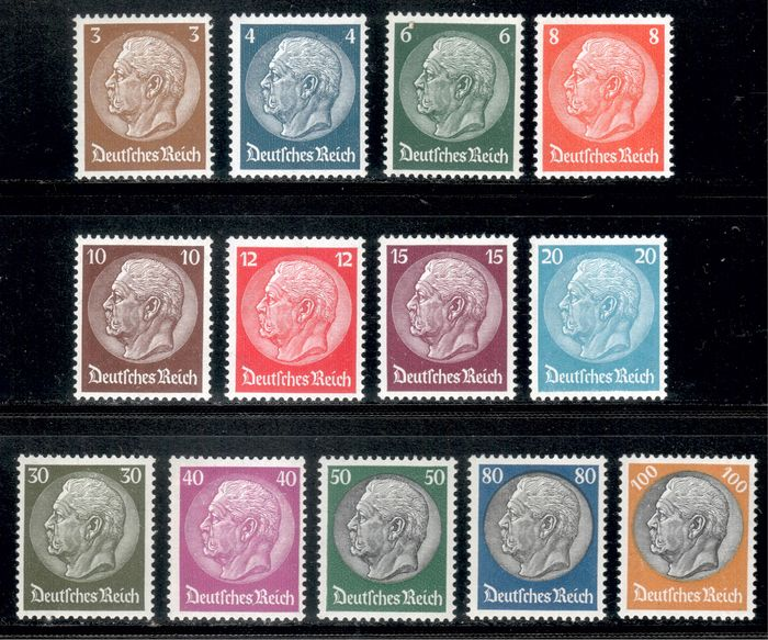 "German Empire 1933 - ""Hindenburg"" set with waffle watermark, without 60 pf - Michel 482-495 ohne 493"