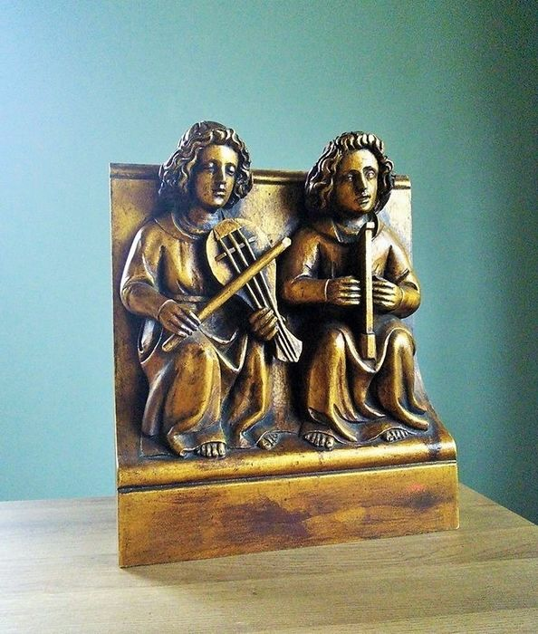 Sculpture of Renaissance Musicians - Renaissance Style - Goldplate, Wood