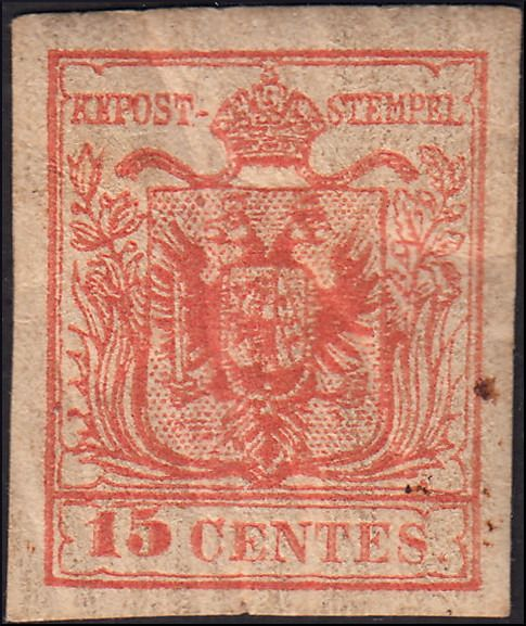 Lombardy–Venetia 1850 - 15 cents salmon red 3rd type, handmade paper - Sassone N. 6d