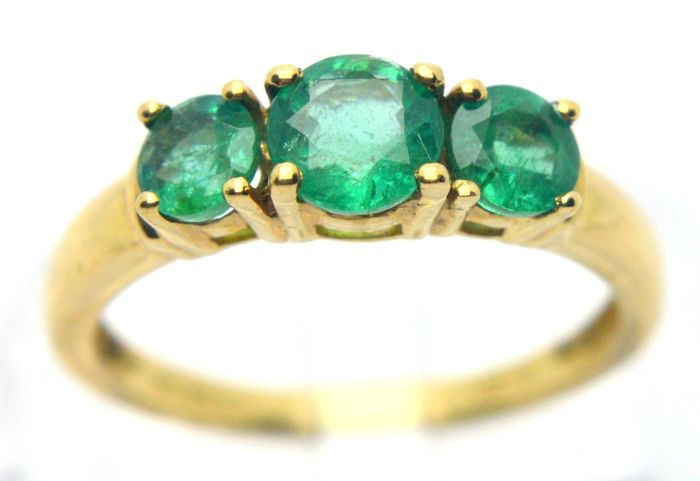 9 kt. Yellow gold - Ring - 1.00 ct Emerald
