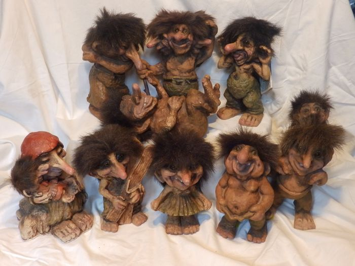Collection Of 9 Medium Sized Norwegian Trolls Catawiki