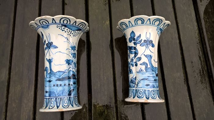 Tichelaar Makkum - Two cupboard vases - with decor of flowers, birds of paradise and insects (2) - Earthenware