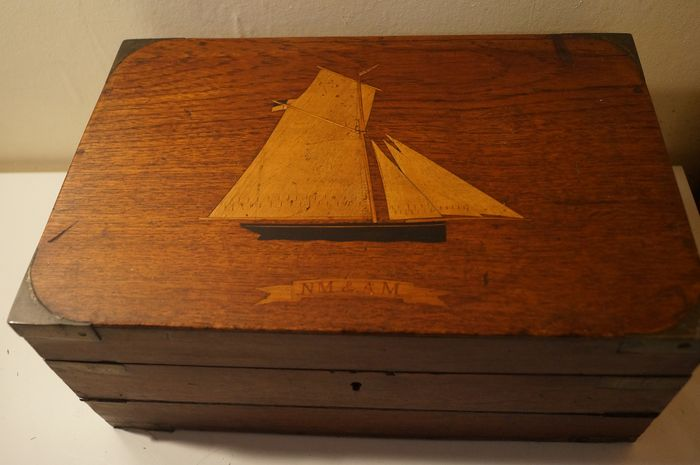 Oak Maritime or Nautical writing stationery slope with brass corners and Sailing boat inlaid