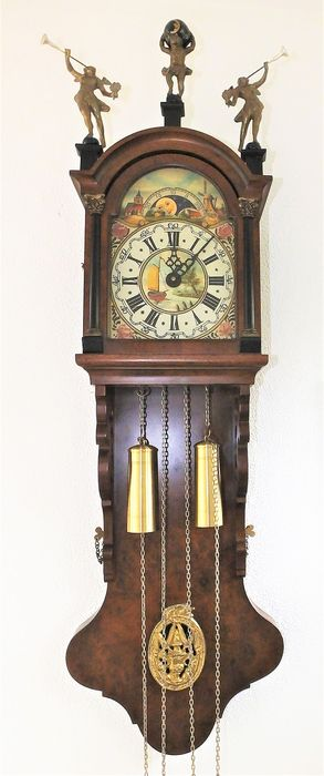 Beautiful Frisian tail clock in excellent condition. - Brass, Glass, Wood - mid 20th century