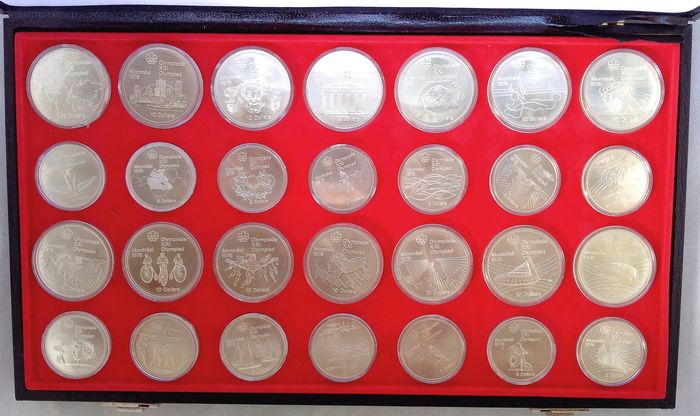 Canada - 5 + 10 Dollar 1973-1976 'Montreal Olympics 1976' (28 pieces) in box - Silver