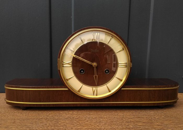 Zentra (Hermlé) vintage cloak mantel clock, table clock - wood, brass, copper - 1950-1960
