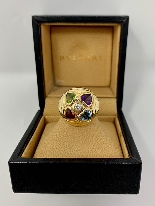 Bvlgari - 18 kt. Yellow gold - Ring - 0.10 ct Diamond - Amethyst, Citrines, Topaz, Tourmaline