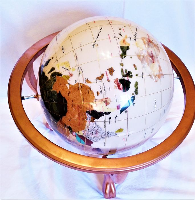 Nacre and various minerals - World sphere (47x44 cm) on the basis of three feet with compass - 5 kg