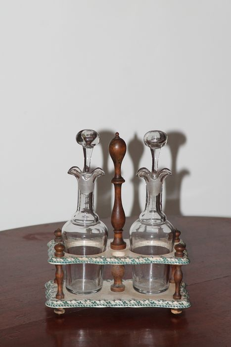 antique oil and vinegar set with porcelain holder - wood porcelain and glass