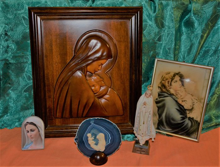 madonna sacred art (5) - Art Deco - Agate, Glass, Resin/Polyester, Wood- Chestnut