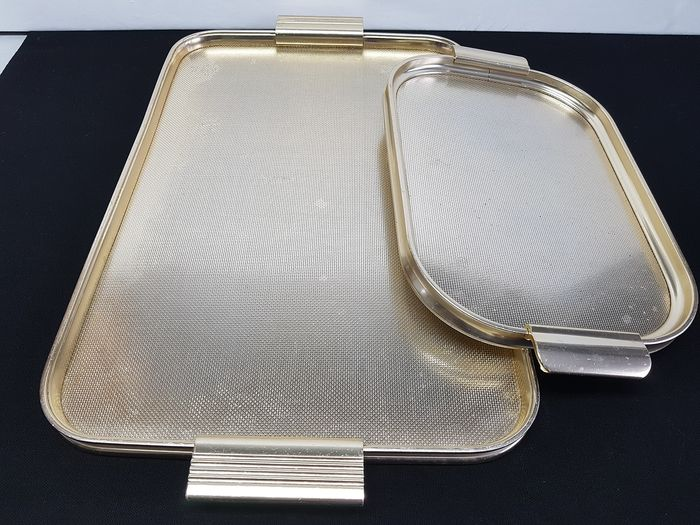 Woodmet/Carefree - 2 English gold trays. (2) - Gold plated