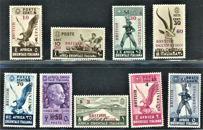 Great Britain - Occupation of Italian colonies (1942-1949) 1941 - British Occupation - complete set of 9 values - Sassone NN. 1/9