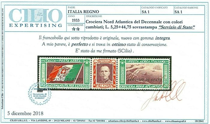 Italy Kingdom 1933 - North Atlantic Cruise Triptych State Service ** MNH cert. Cilio - Sassone N° SA 1