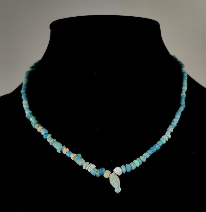 Ancient Egyptian Faience Wearable Necklace with Amulet