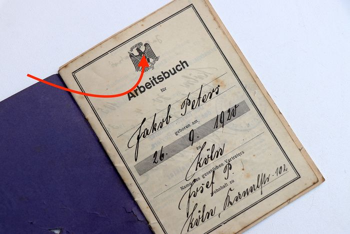 Germany - 1st type workers book to Jacob Peeters  - 1939