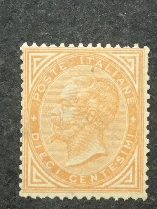 Italien Königreich 1863 - 10 cents reddish orange - Sassone N. L17b
