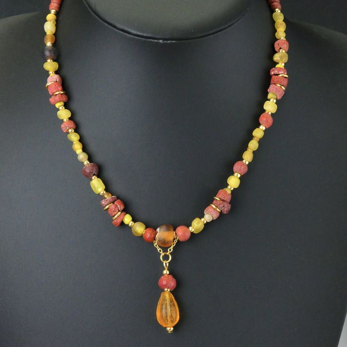 Ancient Roman Glass Necklace with yellow, red and amber colour beads - 44 cm