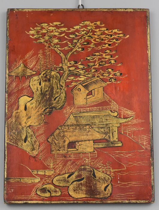 Double-sided panel - Lacquered wood - China - Late 19th century