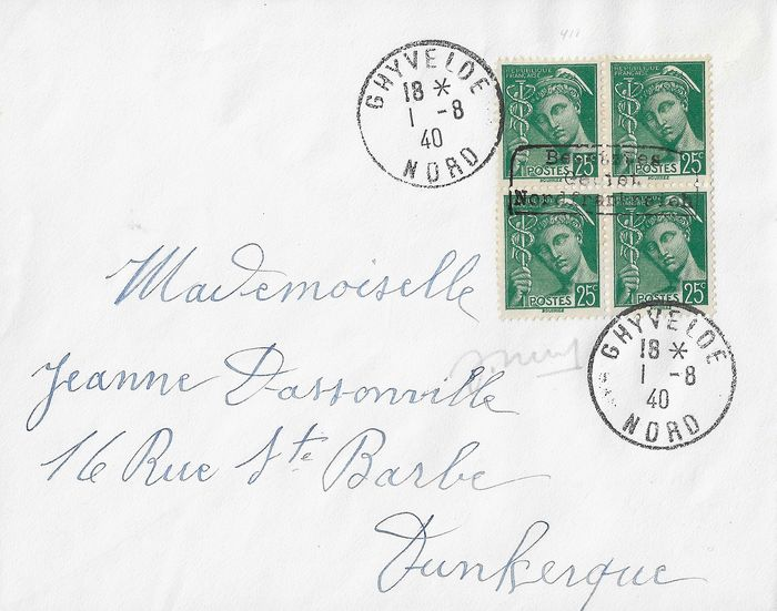 Germany - Local postal areas 1940 - Mercure, 25 centimes green, block of 4, Dunkirk overprint type I - Maury 1