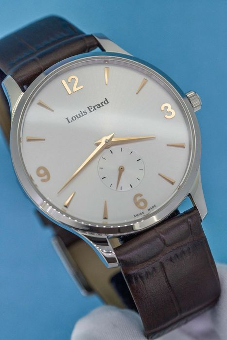 Louis Erard - 1931 Collection Small Seconds Ultra Slim Mechanical hand- winding Brown Leather Strap Swiss Made  - 47217AA11.BEP01 - Men - Brand New