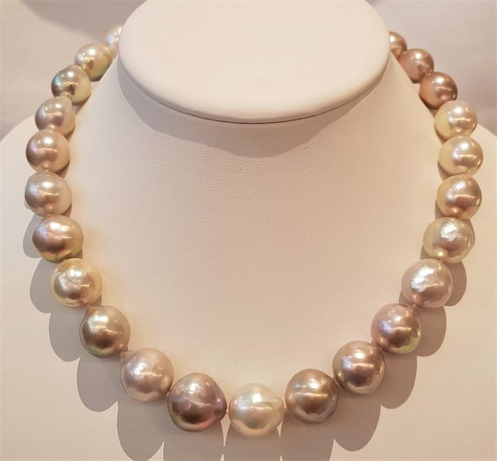NO RESERVE PRICE - 925 Silver - 13x17mm Multi Edison Pearls - Necklace