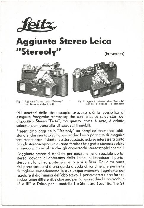 Leitz rare brochure, in Italian, of the Leica Stereoly, the stereo device, 1934 exc+++