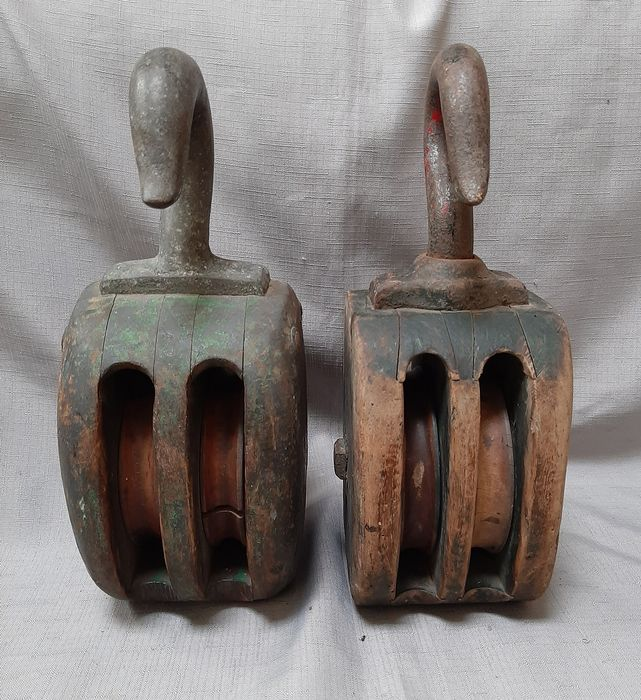 2 old large pulleys with wooden discs - wood, iron - First half 20th century