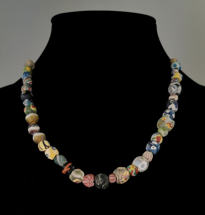 Ancient Roman Glass Millefiori Mosaic Beaded Wearable Necklace