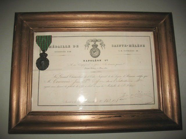 Napoleon Medal - SAINTE HELENE with diploma - Bronze paper glass wood