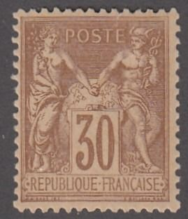 Frankreich - Type Sage, 30 centimes brown, mint, deluxe - Yvert 80
